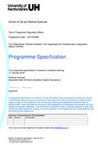 MSc Regulatory Affairs Programme Specifications