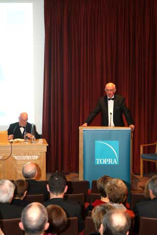 Professor Sir Alasdair Breckenridge delivering the TOPRA Annual Lecture