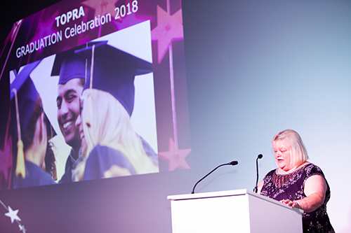Angela Stokes leads the MSc Graduation Ceremony at the 2018 Awards